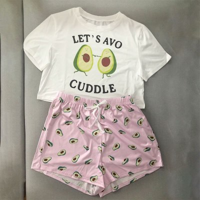 Women's Sleepwear Cute Cartoon Print Short Set Avocado  Pajama Set