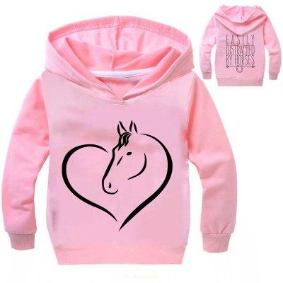 Fashion Printed Horse Hoodie Boy Long Sleeve Shirt Cildren Sweatshirts Girls Hoodies Children Coat Kids Clothes Streetwear