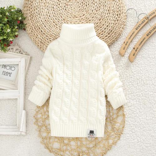 Boys girl warm jacket kid thick Knitted bottoming turtleneck sweater