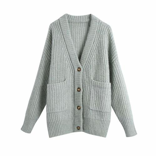 Autumn Winter Women Knit Patch Pockets V-Neckline Buttons Chic Sweater