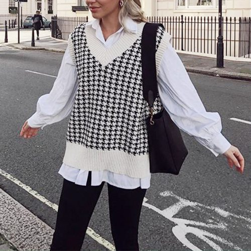 knitted sweater vest women V neck sleeveless oversized pullover vintage Fall winter female waistcoat sweater