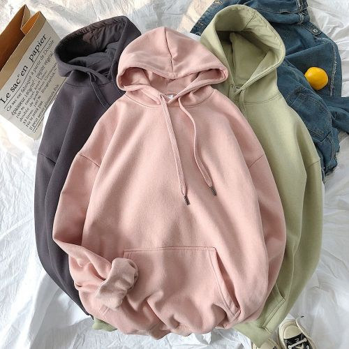 Women Solid Color Hoodie Warm Velet Hooded Basic Pullover Sweatshirt Winter Casual Long Sleeve Tops Korean 12 Colors