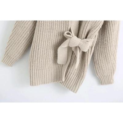 New Women Knit Cardigan V-neckline Long Sleeves Wrap Closure Long Sweater
