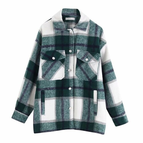 Vintage Jacket Women Plaid Pockets Oversized Long Coats Casual Lapel Collar Long Sleeve Loose Winter Warm Outerwear Chic Tops