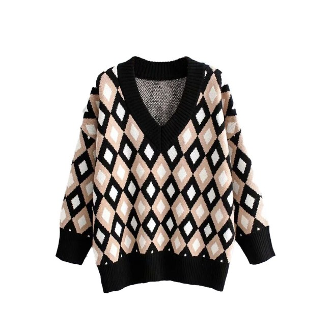 New Autumn Winter Knit Tops Argyle patterns Loose Oversize Sweater Warm pullover casual pull femme chandails