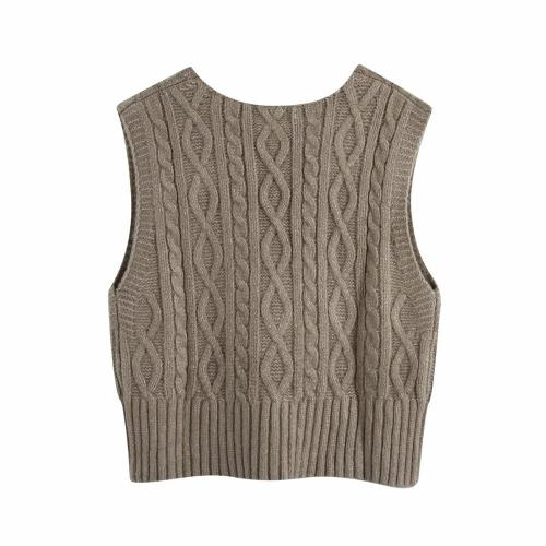 2020 New Autumn Winter Women Cable-Knit Vest Ribbed trims Knited Top Sleeveless Sweater Pullover Female Clothes