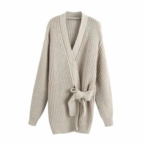 New Women Knit Cardigan V-neckline Long Sleeves Wrap Closure Long Sweater