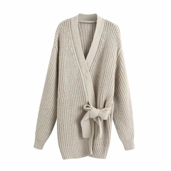 New Women Knit Cardigan V-neckline Long Sleeves Wrap Closure Long Sweater Casual femme vetement ropa mujer