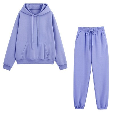 Fleece Tracksuits Women Two Pieces Set Hooded Oversized Sweatshirt Pants Solid Color Hoodie Suits Autumn Winter Casual Outfits