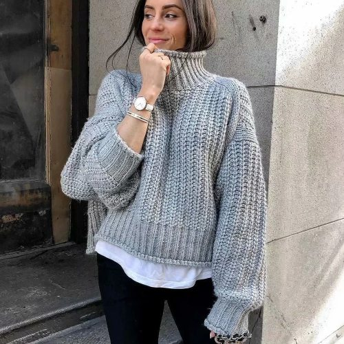 New Fall Winter Women Knit Sweater Long Sleeves Oversized Loose Casual Fashion High Street Warm Women Sweaters Pullover