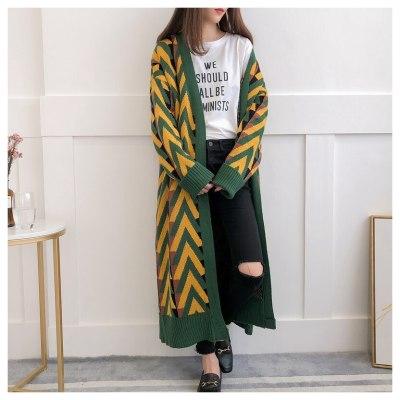 Women Long Sweater Cardigans 2020 Autumn Winter Long Sweater Jacket Geometric Knit Cardigans Long Overcoat winter coat woman