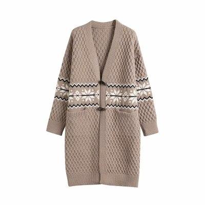 Women Winter Cardigans Long Sleeve Open Stitch Snowflake Knit Sweater
