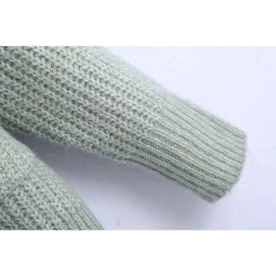 Autumn Winter Women Knit Patch Pockets V-Neckline Buttons Chic Sweater