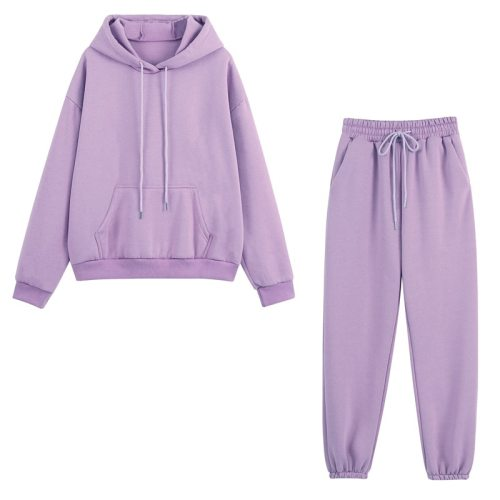 Women Tracksuit Two Pieces Set Cropped Fleece Hoodies Long Pants Autumn Winter Oversized Sweatshirts Casual Loose Sport Suits