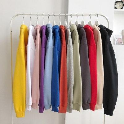 Women Solid Color Hoodie Warm Velet Hooded Basic Pullover Sweatshirt Winter Casual Long Sleeve Tops Korean 12 Colors