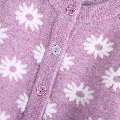 New Autumn Winter Women Floral Knit Cardigan flower-shaped buttons Long Sleeves O-Neck Cropped Chic Sweater Tops