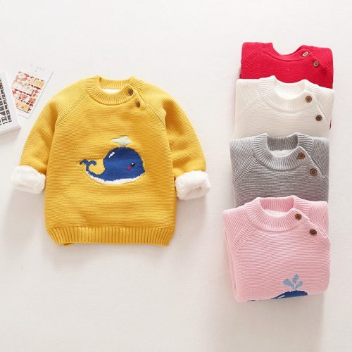 Winter Baby Girls Sweaters Clothes Kids Boys Warm Sweater Coats Child Cartoon Whale Thicken Tops Wool Pullovers