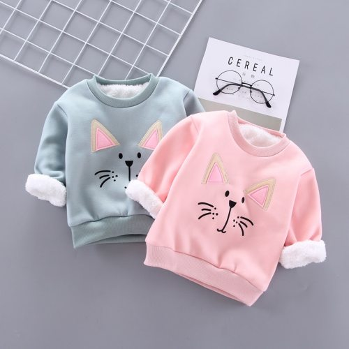 Winter Baby Girls Padded Pullovers Clothing Toddler Boy Sweatshirts Kids Cartoon Bear Hoodies T-shirt
