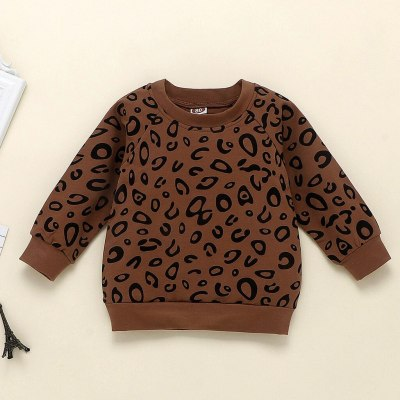 Kids Baby Girls Boys Long Sleeve Sets Outfits Leopard Print T-shirt Sweater Coat Tops Pants Toddler Girls Boys Sets Outfits