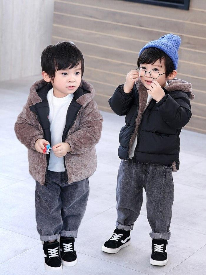 Reversible Cartoon Hooded Plus Velvet Fleece Jacket Newborn Outerwear