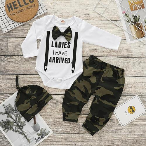 2020 Autumn New Baby Boy Clothes Long Sleeve Romper+ Pants +Hat 3 Pieces Set  Boys Clothes For Newborns For 0-18 Months
