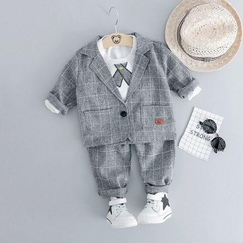 Baby Boy Clothes Autumn Newborn Clothes Baby Formal Gentleman Clothes Set T-shirt+Coat+Pant 3Pcs Outfit for Infant Clothing Suit