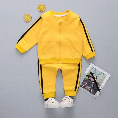 Children's Sports Set 2020 Spring Autumn New Long-sleeved Boys Zipper Top Sweatpants Two-piece Girls Suit Kids Clothes