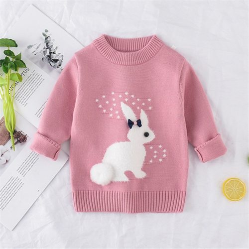 New Arrival girl Sweater Children Clothing rabbit Pattern Knitted Sweater Baby girls Pullover Sweater Knitwear