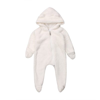 Pudcoco Cute Hot Style Newborn Baby Girl Boy Fuzzy Clothes Hooded  Footies  Jumpsuit 0-24M