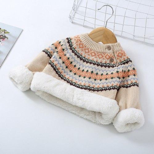 Winter Baby Plus Velvet Sweaters Boy Girls Clothes Toddler Warm Sweater Coats Children Rabbit Thicken Wool Tops Fit