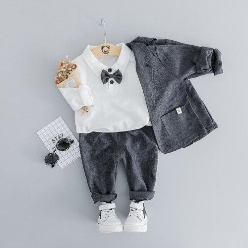 Baby Boy Clothes Autumn Newborn Clothes Baby Formal Gentleman Clothes Set T-shirt+Coat+Pant 3Pcs Outfit for Infant Clothing Suit
