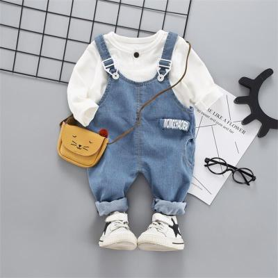 2020 Baby Girls Boy Clothes Suit Kids Baby Casual Long Sleeve T-Shirt+Denim Overalls Newborn Clothes Set Toddler Clothing