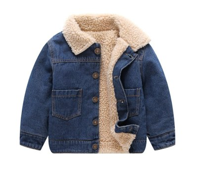 Toddle Winter Jackets  Fashion Kids Fleece Turn-down Collar Denim Outerwear