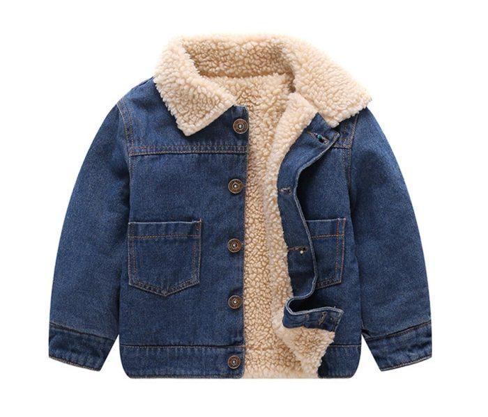 Toddle Winter Jackets  Fashion Kids Fleece Turn-down Collar Denim Outerwear