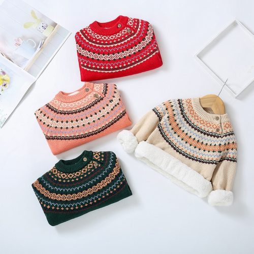 Winter Baby Plus Velvet Sweaters Boy Girls Clothes Toddler Warm Sweater Coats Children Rabbit Thicken Wool Tops Fit