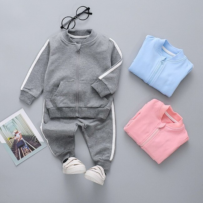 Children's Sports Set 2020 Spring Autumn New Long-sleeved Boys Zipper Top Sweatpants Two-piece Girls Suit Kids Clothes