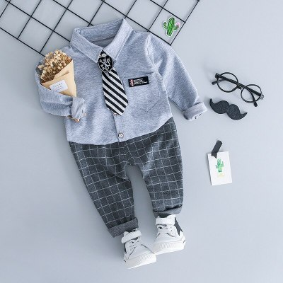 Infant Clothing Kids Plaid Suit Newborn Clothes Autumn Winter Baby Clothes Set Formal Gentleman 3Pcs Outfit for Baby Boy Clothes