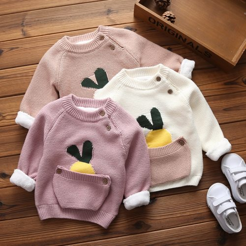 Baby Boys Girls Warm Sweaters Clothes Toddler Infant Sweater Coats Children Cartoon Thicken Tops Wool Pullovers Clothing