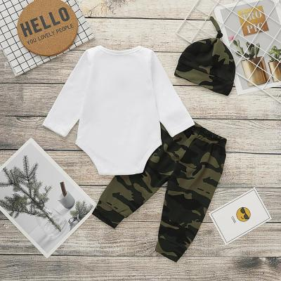 Autumn New Baby Boy Clothes Long Sleeve Romper+ Pants +Hat 3 Pieces Set