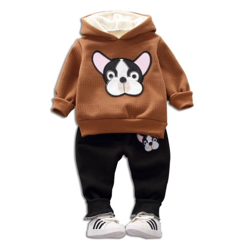 Children's Casual Suit 2020 Autumn Winter New Boys Plus Velvet Puppy Cartoon Hooded Sweatshirt Trousers 2pcs Baby Boys Clothing