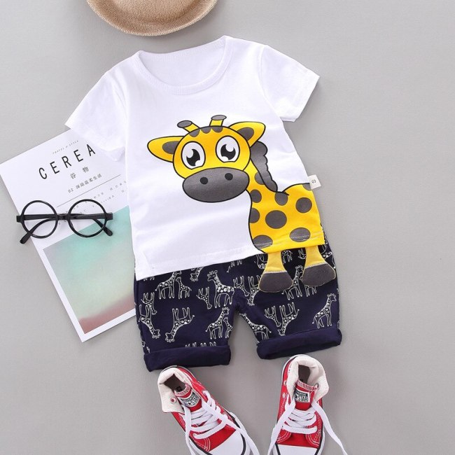 Fashion Boys Clothing Sets Summer Baby Boys Girls Clothes Cartoon T-shirt+Pants Outfit Newborn Baby Clothes For Baby Boys Suit