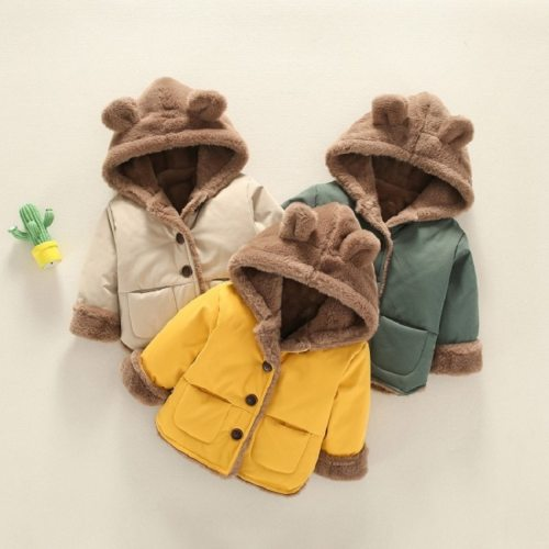 Winter children's  warm and velvet padded cotton jacket cartoon bear hooded