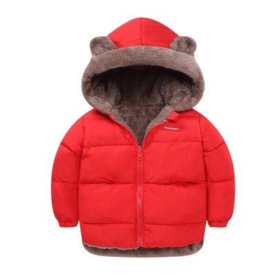 2020 children's clothing children's winter children's children's warm and velvet padded cotton jacket cartoon bear hooded jacket