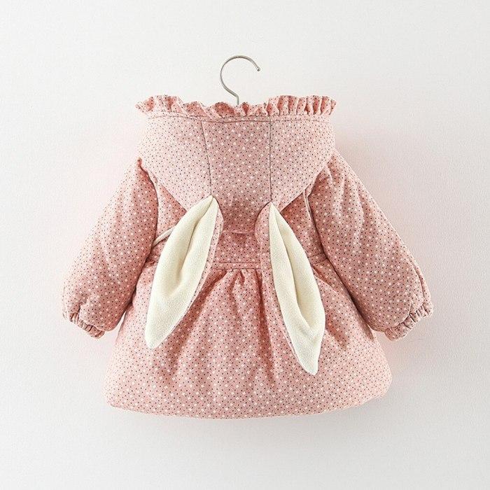 Winter Toddler Kids Baby Girls Ruched Dor Rabbit Ear Thick Warm Coat Outwear +Bag winterjas meisje girls coat
