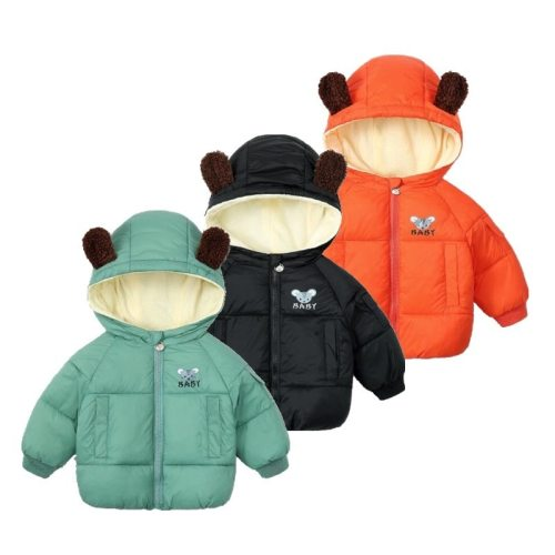 Winter Wind Proof Kids Outwear Candy Colors Cute Hooded Warm Jackets