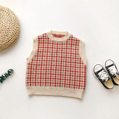 2020 New Arrival Korean style all-match cotton plaid knnited sleeveless vest sweater for cute sweet baby girls