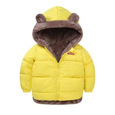 Winter children's  warm and velvet padded cotton jacket cartoon bear hooded