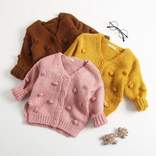 Autumn New Arrival cotton pure color fashion all-match Knitted Hand-made Sweater for babies