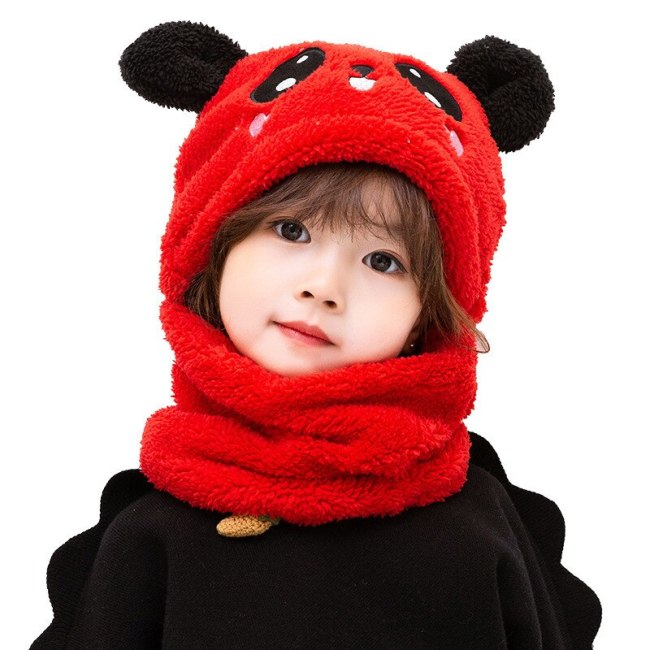 Plush Hood Panda Rabbit Warm Autumn Winter Wool Kids Hat&Scarf Set