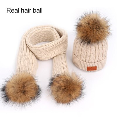 New Cute Children's Knit Beanie Hat Scarf 2 Pieces Set Winter Boy Girl Pompom Soft Cap Scarves Beanies Thicken Baby Kids